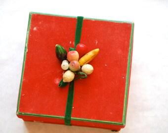 Vintage Christmas Box, Holiday Display, Red Velvet