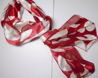"CIRCLES MODERNE SCARF, extra long 59"" inches long, silky blend, red and white circles"