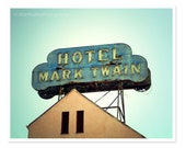 Hotel Mark Twain Fine Art Photograph, vintage retro home decor, literature library art, San Francisco photo blue gold, travel photography