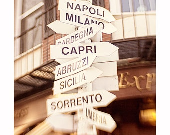 Italy City Signs Photograph, Street Signs, Boston Photography, Map, City Print, Lead me to Italy, Italy City Names, Sign Photography