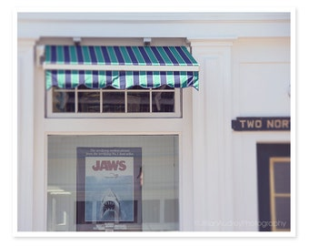 Jaws Poster Photography, Movie Poster Storefront, Martha's Vineyard Photograph, Charming Architecture Nostalgic, Summer Sea Blue Stripe