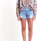 The Vintage Taupe Southwestern Print Button Up Shirt