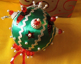 Christmas Ornament SALE Jeweled Beaded Handmade