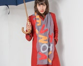 Falling Letters nuno felted scarf.Silk chiffon scarf. Alphabetic scarf in grey, red and yellow. Bold graphic design. Autumn felted scarf