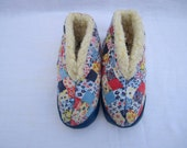 Holly Hobbie Style Patchwork Slippers . Circa 1980's . Girls . Childrens/Toddlers Size 6.5