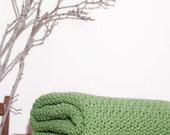 Ready to Ship  Beautiful and Luxuriously Handcrafted CROCHET Blanket Throw GREEN TEA Leaf