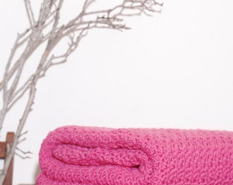 Ready to Ship   Beautiful and Luxuriously Handcrafted Crochet Blanket Throw LIGHT RASPBERRY