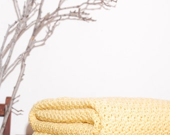 Ready to Ship  Beautiful and Luxuriously Handcrafted CROCHET Blanket Throw CORNMEAL YELLOW