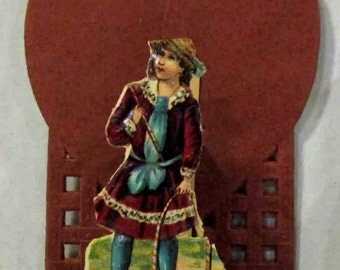 Antique Vintage Valentine Germany Fold Out Stand Up 3D Victorian Era German Die Cut