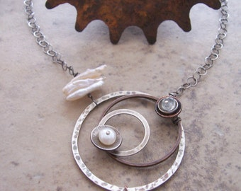 Celestial Circle Necklace// Clear topaz necklace // Science Jewelry // Unique Mixed Metal Gemstone Jewelry // Asymmetrical Necklace