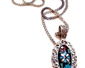 Carolyn Pollack  S.S. Pendant, Onyx, Inlaid Flowers Turquoise, Coral, Signed CP