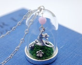 cat in the meadow necklace. story dome, glass terrarium moss with matte silver kitten
