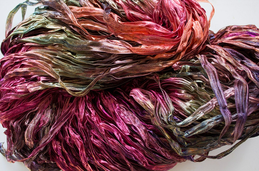 Nylon Knitting Ribbon : Party hand dyed ribbon yarn forest fire nylon yds