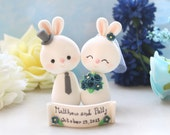 Unique Bunny wedding cake toppers - bride and groom personalized rustic country wedding name navy blue red yellow fuchsia white cute elegant