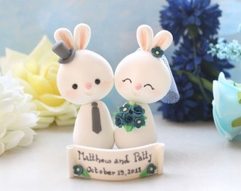 Custom Bunny wedding cake toppers - bride and groom personalized - with banner - navy blue red yellow fuchsia pink white cute funny elegant