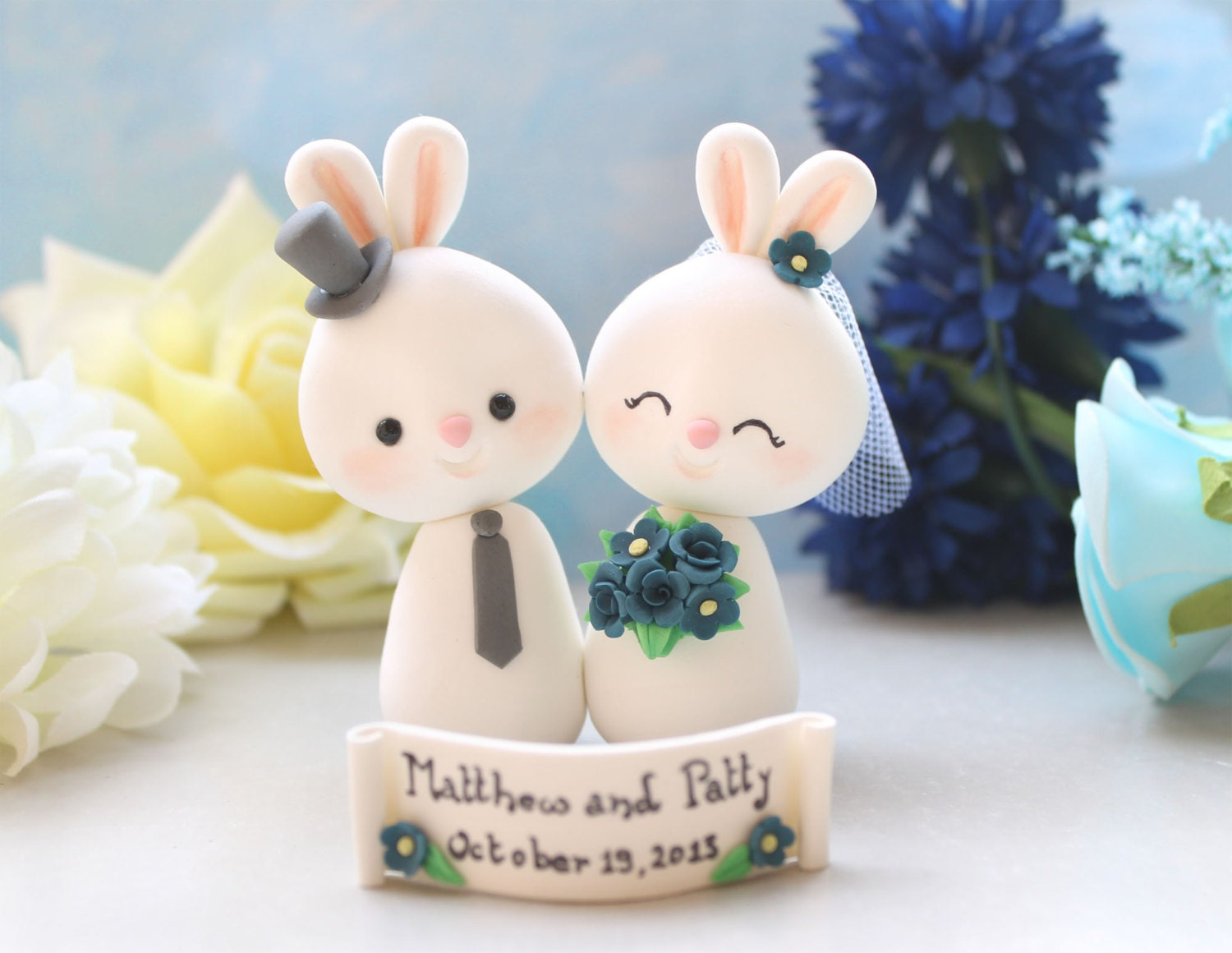 Unique Bunny wedding cake toppers bride and groom