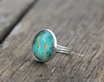 Floral Turquoise Blossom Ring Van Gogh Almond Blossoms - Adjustable turquoise Glass Dome Ring