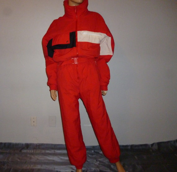 Vintage 1980's -Edelweiss - Vibrant Red - White - Black - Color Block - Snowboarding - Ski Suit -  Men's - size small