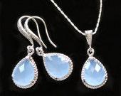 Crystal Light Blue Opal Teardrop Earrings with Matching Teardrop Pendant Necklace Set