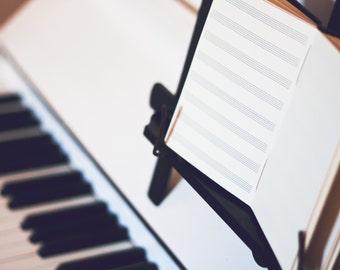 Musicians Stave Leather Journal - Handbound Songwriting Manuscript Book - Music Score - Staff Paper - 6 x 4 - Custom - A6