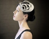 20's Flapper Style Grey Felt Fascinator with Black/Orange/Copper Accents - Zelda - Made to Order
