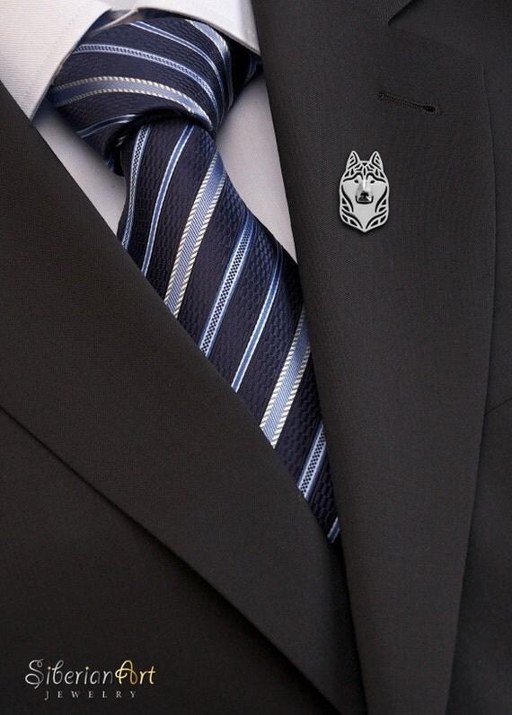 Siberian husky brooch - sterling silver