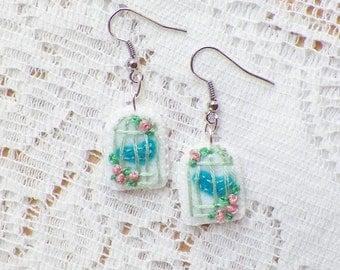 Handmade Felt Little Birdcage with Teal  Bird and Pink Roses Earrings, Bird Cage, Shabby, Dangling Pierced Earrings