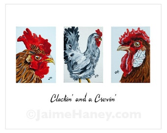 Cluckin' and a Crowin' 3 Roosters painting 8x10 print