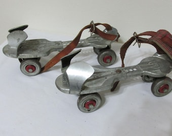Roller Skates Metal Clamp on with Iron Wheels Adjustabl
