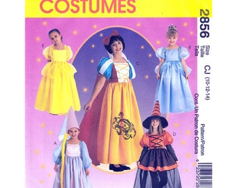 Girls Costume Pattern Rupunzel Cinderella Snow White Witch Belle Storybook Costume McCalls 2856/ 230 Size 2-4 or 10-14 UNCUT