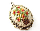 Unique Gold tone Oval shaped Needlepoint Flowers in a Basket Gold tone Mirror Pendant
