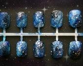 Galaxy Nail Art. Galaxy Fake Nail, Designer Nail, Short Fake Nails, Press On Nails, Acrylic Nails, Universe, Short Fake Nails, Kawaii