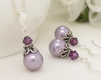 Lavender purple bridesmaid jewelry set, Light purple jewelry set, Sterling silver, Purple pearl necklace earrings, bridal jewelry