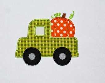 Embroidered Iron On Applique-Pumpkin Truck  RTS