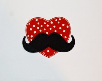"Embroidered Iron On ""Mustache Heart"""