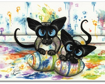 Siamese Cat Double Trouble Easter Egg Painting - Art Prints by Bihrle ck409