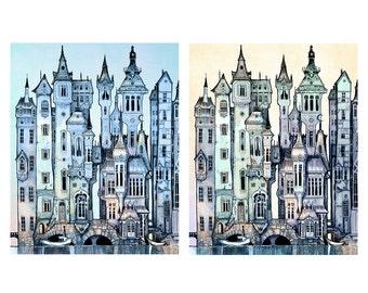 Print Set Dusk and Dawn - Victorian City  Fantasy Art Print - Pop surrealism - blue - silver - twilight  - Fairy Tale Art