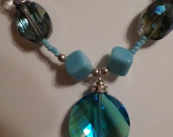 Turquoise and Crystal Beaded Pendant Necklace   FREE SHIPPING