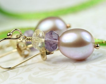 Pearl Drop Earrings with Amethyst and Citrine Gemstones, Natural color pearls, Gold Filled Hooks, Gift for Her, dangle drop earings art4ear