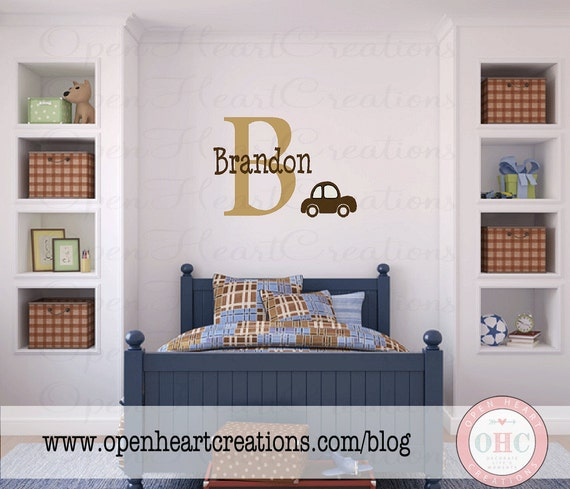 Personalized Name Vinyl Wall Decal - Monogram Baby Nursery Wall Decor with Car Wall Decal 22H x 32W INA0037