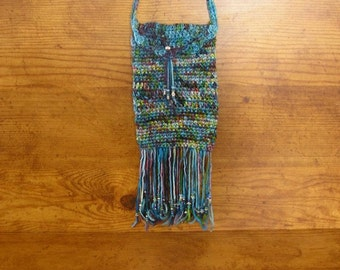 "Smart Phone bag, Ocean hand crochet cell phone bag with silver button,  6"" x 4 1/4"" , a 24""  strap, and beaded fringe, handmade in USA"