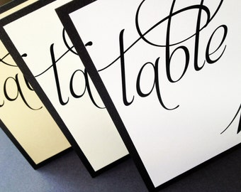 Scripted Pearl Shimmer Layered Table Numbers - Table Number Cards - Tent Table Cards