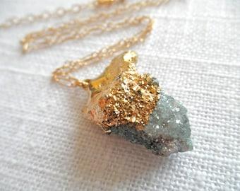 Spirit Quartz Necklace - Druzy Necklace - Gold Necklace - Aqua Necklace - D R U Z Y 240