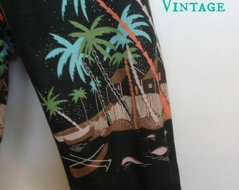 70s does 50s tropical print black pedal pushers