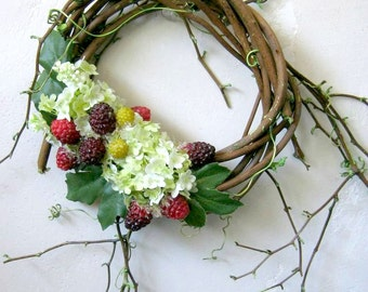 French Country Cottage, White Hydrangea Wreath, Petite Indoor Wreath, Shabby Cottage Decor, Raspberry Wreath