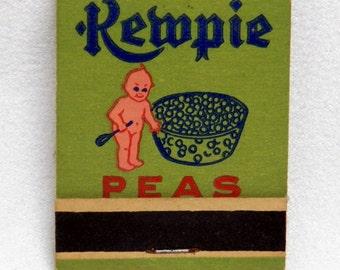 Matches Kewpie Advertising Peas and Corn