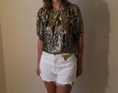 High Waisted studded denim shorts -White