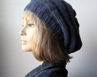 Blue Denim Hand Knit Hat, Beehive Knit Beret, Vegan Hat, Womens Accessories, Denim Slouchy Beanie Hat