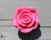SALE Rose Drawer Knobs - Cabinet Knobs in Hot Pink (RFK14)