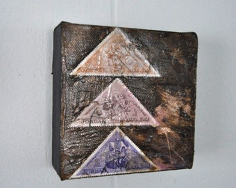 Small Mixed Media Painting Stamp Upcycled Canvas Art Triangle Pyramid Geometric Lines Original Collage Purple Brown 4x4